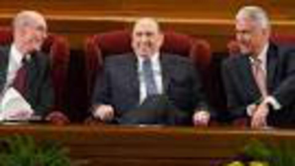 President Thomas S. Monson, President Henry B. Eyring and President Dieter F. Uchtdorf of the First Presidency attend the Sunday morning session of general conference, April 3, 2016.